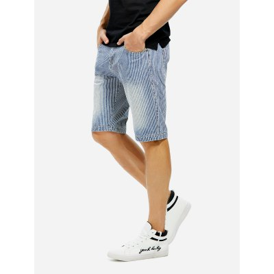 ZANSTYLE Men Knee Length Contrast Denim ShortsMens Shorts<br>ZANSTYLE Men Knee Length Contrast Denim Shorts<br>