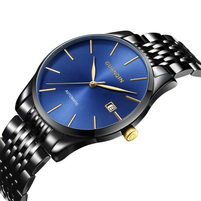 GUANQIN GJ16056 Men Auto Mechanical WatchMens Watches<br>GUANQIN GJ16056 Men Auto Mechanical Watch<br><br>Band material: Stainless Steel<br>Band size: 23.1 x 1.8cm / 9.09 x 0.71 inches<br>Brand: GUANQIN<br>Case material: Alloy<br>Clasp type: Butterfly clasp<br>Dial size: 4.1 x 4.1 x 0.9cm / 1.61 x 1.61 x 0.35 inches<br>Display type: Analog<br>Movement type: Automatic mechanical watch<br>Package Contents: 1 x Watch, 1 x Box<br>Package size (L x W x H): 14.90 x 9.40 x 2.80 cm / 5.87 x 3.7 x 1.1 inches<br>Package weight: 0.2530 kg<br>Product size (L x W x H): 23.10 x 4.10 x 0.90 cm / 9.09 x 1.61 x 0.35 inches<br>Product weight: 0.1480 kg<br>Shape of the dial: Round<br>Special features: Date<br>Watch style: Fashion, Business<br>Watches categories: Male table<br>Water resistance : 30 meters