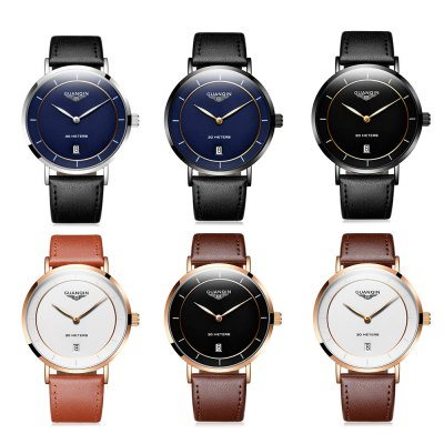 GUANQIN GS19070 Men Quartz WatchMens Watches<br>GUANQIN GS19070 Men Quartz Watch<br><br>Band material: Genuine Leather<br>Band size: 23 x 1.8cm / 9.06 x 0.71 inches<br>Brand: GUANQIN<br>Case material: Stainless Steel<br>Clasp type: Pin buckle<br>Dial size: 4 x 4 x 0.7cm / 1.57 x 1.57 x 0.28 inches<br>Display type: Analog<br>Movement type: Quartz watch<br>Package Contents: 1 x Watch, 1 x Box<br>Package size (L x W x H): 14.90 x 9.40 x 2.90 cm / 5.87 x 3.7 x 1.14 inches<br>Package weight: 0.1430 kg<br>Product size (L x W x H): 23.00 x 4.00 x 0.70 cm / 9.06 x 1.57 x 0.28 inches<br>Product weight: 0.0380 kg<br>Shape of the dial: Round<br>Special features: Date, Luminous<br>Watch mirror: Mineral glass<br>Watch style: Business, Fashion<br>Watches categories: Male table<br>Water resistance : 30 meters<br>Wearable length: 18 - 22cm / 7.09 - 8.66 inch