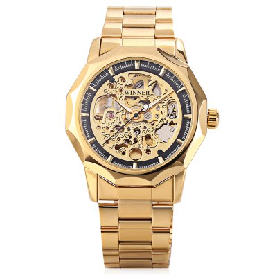 Winner H199M Male Auto Mechanical WatchMens Watches<br>Winner H199M Male Auto Mechanical Watch<br><br>Band material: Stainless Steel<br>Band size: 24 x 1.8cm / 9.45 x 0.71 inches<br>Brand: Winner<br>Case material: Alloy<br>Clasp type: Sheet folding clasp<br>Dial size: 4.5 x 4.5 x 1.3cm / 1.77 x 1.77 x 0.51 inches<br>Display type: Analog<br>Movement type: Automatic mechanical watch<br>Package Contents: 1 x Watch<br>Package size (L x W x H): 13.00 x 5.50 x 2.30 cm / 5.12 x 2.17 x 0.91 inches<br>Package weight: 0.1410 kg<br>Product size (L x W x H): 24.00 x 4.50 x 1.30 cm / 9.45 x 1.77 x 0.51 inches<br>Product weight: 0.1100 kg<br>Shape of the dial: Round<br>Special features: Luminous<br>Watch mirror: Mineral glass<br>Watch style: Business, Fashion<br>Watches categories: Male table<br>Water resistance : Life water resistant