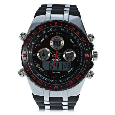 HPOLW 584 Men Dual Movt WatchMens Watches<br>HPOLW 584 Men Dual Movt Watch<br><br>Band material: Silicone<br>Band size: 25 x 2.6cm / 9.84 x 1.02 inches<br>Brand: HPOLW<br>Case material: Alloy<br>Clasp type: Pin buckle<br>Dial size: 5 x 5 x 1.3cm / 1.97 x 1.97 x 0.51 inches<br>Display type: Analog-Digital<br>Movement type: Double-movtz<br>Package Contents: 1 x Watch, 1 x Box<br>Package size (L x W x H): 28.00 x 8.00 x 3.50 cm / 11.02 x 3.15 x 1.38 inches<br>Package weight: 0.1970 kg<br>Product size (L x W x H): 25.00 x 5.00 x 1.30 cm / 9.84 x 1.97 x 0.51 inches<br>Product weight: 0.1370 kg<br>Shape of the dial: Round<br>Special features: Day, Stopwatch, Luminous, Light, Alarm Clock, Date<br>Watch mirror: Resin glass<br>Watch style: Trends in outdoor sports, Fashion<br>Watches categories: Male table<br>Water resistance : 30 meters<br>Wearable length: 19.00 - 24.00cm / 7.48 - 9.45 inches