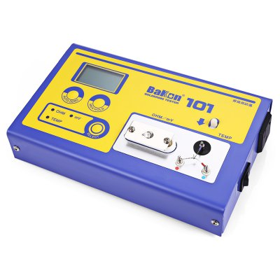 Bakon 101 Digital Soldering Tester for Tip TemperatureTesters &amp; Detectors<br>Bakon 101 Digital Soldering Tester for Tip Temperature<br><br>Material: Stainless Steel<br>Model: 101<br>Package Contents: 1 x Bakon Soldering Tester, 1 x Power Cord, 1 x Power Adapter, 1 x Bilingual Manual in Chinese and English<br>Package size (L x W x H): 26.00 x 20.00 x 8.00 cm / 10.24 x 7.87 x 3.15 inches<br>Package weight: 1.2850 kg<br>Product size (L x W x H): 20.00 x 12.00 x 5.00 cm / 7.87 x 4.72 x 1.97 inches<br>Product weight: 0.9500 kg<br>Special function: Digital Soldering Tester for Tip Temperature
