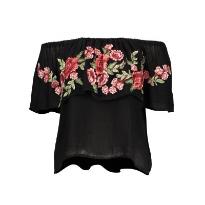 Embroidered Off The Shoulder BlouseBlouses<br>Embroidered Off The Shoulder Blouse<br><br>Collar: Off The Shoulder<br>Color: Black<br>Elasticity: Nonelastic<br>Embellishment: Embroidered,Flounce<br>Material: Rayon<br>Package Content: 1 x Blouse<br>Package size (L x W x H): 37.00 x 28.00 x 1.00 cm / 14.57 x 11.02 x 0.39 inches<br>Package weight: 0.1800 kg<br>Pattern Type: Floral<br>Product weight: 0.1500 kg<br>Season: Summer<br>Shirt Length: Regular<br>Sleeve Length: Sleeveless<br>Style: Fashion