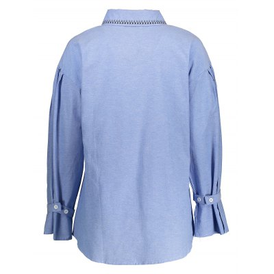 Asymmetric Bell Sleeve ShirtBlouses<br>Asymmetric Bell Sleeve Shirt<br><br>Collar: Turn-down Collar<br>Elasticity: Nonelastic<br>Material: 100% Cotton<br>Package Content: 1 x Shirt<br>Package size (L x W x H): 50.00 x 30.00 x 1.00 cm / 19.69 x 11.81 x 0.39 inches<br>Package weight: 0.3000 kg<br>Pattern Type: Solid<br>Product weight: 0.2300 kg<br>Season: Spring, Fall<br>Shirt Length: Regular<br>Sleeve Length: Long Sleeves<br>Style: Casual