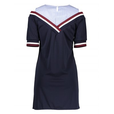 False Two Piece Striped Mini DressMini Dresses<br>False Two Piece Striped Mini Dress<br><br>Dresses Length: Mini<br>Embellishment: Spliced<br>Material: Nylon, Spandex, Viscose<br>Neckline: Round Collar<br>Occasion: Casual, Work, Beach and Summer<br>Package Contents: 1 x Dress<br>Package size: 32.00 x 28.00 x 2.00 cm / 12.6 x 11.02 x 0.79 inches<br>Package weight: 0.2700 kg<br>Pattern Type: Striped<br>Product weight: 0.2350 kg<br>Season: Summer<br>Silhouette: Straight<br>Sleeve Length: Short Sleeves<br>Sleeve Type: Cold Shoulder<br>Style: Brief<br>With Belt: No
