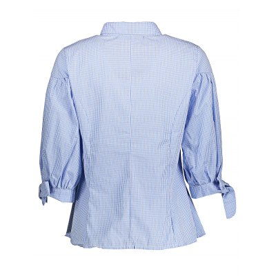 Puff Sleeve Ruffled Plaid ShirtsBlouses<br>Puff Sleeve Ruffled Plaid Shirts<br><br>Collar: Turn-down Collar<br>Color: Light blue<br>Elasticity: Nonelastic<br>Embellishment: Ruffles<br>Material: 100% Cotton<br>Package Content: 1 x Shirt<br>Package size (L x W x H): 35.00 x 30.00 x 1.00 cm / 13.78 x 11.81 x 0.39 inches<br>Package weight: 0.2200 kg<br>Pattern Type: Plaid<br>Product weight: 0.1650 kg<br>Season: Fall, Summer, Spring<br>Shirt Length: Regular<br>Sleeve Length: Half Sleeves<br>Sleeve Type: Puff Sleeve<br>Style: Casual