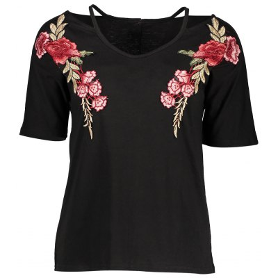 Floral Embroidery Black V-neck T Shirts for Women