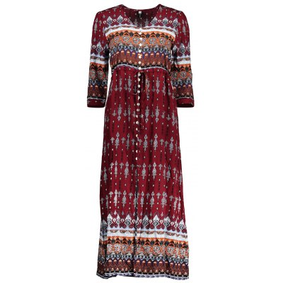 Single-breasted Ethnic Print Maxi Dress
