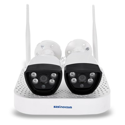 Szsinocam SN - NVK - 5007W10 Wireless NVR Kit with Four 720P CamerasSurveillance Camera System<br>Szsinocam SN - NVK - 5007W10 Wireless NVR Kit with Four 720P Cameras<br><br>Alarm Notice: Email Photo,FTP Photo<br>APP: IP Pro<br>APP Language: Chinese,English<br>Backlight Compensation: Auto<br>Environment: Indoor,Outdoor<br>Hard disk: Up to 4TB ( not included )<br>Image Adjustment: Brightness,Color saturation,Contrast,Hue,Sharpness<br>Infrared Distance: 10 - 20m<br>Infrared LED: 4 LEDs<br>IP camera performance: Support video control, Motion Detection, Night Vision<br>Lens Size: 4.0mm<br>Minimum Illumination: 0.1 Lux ( IR LED On ) / F 1.2<br>Model: SN-NVK-5007W10<br>Network protocol: DDNS,DHCP,FTP,IP,LAN,ONVIF,P2P,RTSP,SMTP<br>Optional Language: Arabic,English,French,German,Hebrew,Hungarian,Italian,Japanese,Korean,Persian,Portuguese,Russian,Simplified Chinese,Spanish,Swedish,Thai,Traditional Chinese,Turkish,Vietnamese<br>Package Contents: 1 x NVR with 2 Antennas, 1 x Power Adapter for NVR ( 76cm ), 1 x USB Mouse, 4 x Power Adapter for Camera ( 106cm ), 4 x Camera, 4 x Installation Accessory Kit for Camera, 1 x English User Manual, 4 x<br>Package size (L x W x H): 33.00 x 29.00 x 18.50 cm / 12.99 x 11.42 x 7.28 inches<br>Package weight: 2.3670 kg<br>Pixels: 1MP<br>Power Cable Length: 76cm<br>Power Requirement: 12V / 1A<br>Power Supply: 12V / 1A<br>Product weight: 1.2430 kg<br>Resolution: 1280 x 720<br>Sensor: CMOS<br>Sensor size (inch): 1/4<br>Shape: Bullet Camera<br>Video Compression Format: H.264<br>Video format: AVI<br>Video Standards: NTSC,PAL<br>Waterproof: IP66<br>White Balance: Auto<br>Wireless: IEEE 802.11 b/g/n,WiFi 802.11 b/g/n