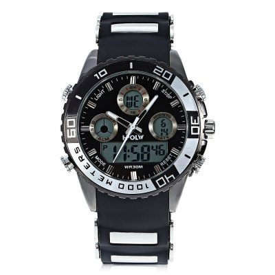 HPOLW 1511 Men Dual Movt WatchMens Watches<br>HPOLW 1511 Men Dual Movt Watch<br><br>Band material: Silicone<br>Band size: 26 x 2.2cm / 10.24 x 0.87 inches<br>Brand: HPOLW<br>Case material: Alloy<br>Clasp type: Pin buckle<br>Dial size: 4.5 x 4.5 x 1.3cm / 1.77 x 1.77 x 0.51 inches<br>Display type: Analog-Digital<br>Movement type: Double-movtz<br>Package Contents: 1 x Watch, 1 x Box<br>Package size (L x W x H): 28.00 x 8.00 x 3.50 cm / 11.02 x 3.15 x 1.38 inches<br>Package weight: 0.1800 kg<br>Product size (L x W x H): 26.00 x 4.50 x 1.30 cm / 10.24 x 1.77 x 0.51 inches<br>Product weight: 0.1200 kg<br>Shape of the dial: Round<br>Special features: Day, Stopwatch, Luminous, Light, Alarm Clock, Date<br>Watch mirror: Resin glass<br>Watch style: Trends in outdoor sports, Casual<br>Watches categories: Male table<br>Water resistance : 30 meters<br>Wearable length: 19.00 - 24.00cm / 7.48 - 9.45 inches