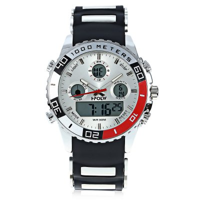 HPOLW 1511 Men Dual Movt WatchMens Watches<br>HPOLW 1511 Men Dual Movt Watch<br><br>Band material: Silicone<br>Band size: 26 x 2.2cm / 10.24 x 0.87 inches, 26 x 2.2cm / 10.24 x 0.87 inches<br>Brand: HPOLW<br>Case material: Alloy<br>Clasp type: Pin buckle<br>Dial size: 4.5 x 4.5 x 1.3cm / 1.77 x 1.77 x 0.51 inches<br>Display type: Analog-Digital<br>Movement type: Double-movtz<br>Package Contents: 1 x Watch, 1 x Box, 1 x Watch, 1 x Box<br>Package size (L x W x H): 28.00 x 8.00 x 3.50 cm / 11.02 x 3.15 x 1.38 inches, 28.00 x 8.00 x 3.50 cm / 11.02 x 3.15 x 1.38 inches<br>Package weight: 0.1800 kg, 0.1800 kg<br>Product size (L x W x H): 26.00 x 4.50 x 1.30 cm / 10.24 x 1.77 x 0.51 inches, 26.00 x 4.50 x 1.30 cm / 10.24 x 1.77 x 0.51 inches<br>Product weight: 0.1200 kg, 0.1200 kg<br>Shape of the dial: Round<br>Special features: Date, Alarm Clock, Stopwatch, Luminous, Light, Day<br>Watch mirror: Resin glass<br>Watch style: Trends in outdoor sports, Casual<br>Watches categories: Male table<br>Water resistance : 30 meters<br>Wearable length: 19.00 - 24.00cm / 7.48 - 9.45 inches, 19.00 - 24.00cm / 7.48 - 9.45 inches