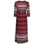 cheap Single-breasted Ethnic Print Maxi Dress