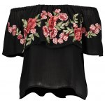 cheap Embroidered Off The Shoulder Blouse