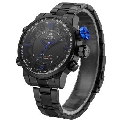 WEIDE 6402 Men Dual Movt WatchMens Watches<br>WEIDE 6402 Men Dual Movt Watch<br><br>Band material: Stainless Steel<br>Band size: 22 x 1.8cm / 8.66 x 0.71 inches<br>Brand: Weide<br>Case material: Alloy<br>Clasp type: Folding clasp with safety<br>Dial size: 5 x 5 x 1.5cm / 1.97 x 1.97 x 0.59 inches<br>Display type: Analog-Digital<br>Movement type: Quartz + digital watch<br>Package Contents: 1 x Watch<br>Package size (L x W x H): 12.00 x 6.00 x 2.50 cm / 4.72 x 2.36 x 0.98 inches<br>Package weight: 0.1700 kg<br>Product size (L x W x H): 22.00 x 5.00 x 1.50 cm / 8.66 x 1.97 x 0.59 inches<br>Product weight: 0.1390 kg<br>Shape of the dial: Round<br>Special features: Date, Stopwatch, Luminous, Light, Alarm Clock<br>Watch mirror: Mineral glass<br>Watch style: Fashion, Trends in outdoor sports<br>Watches categories: Male table<br>Water resistance : 30 meters