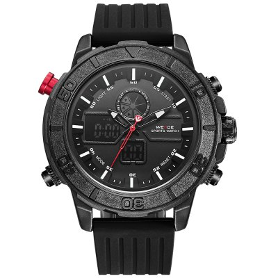 WEIDE 6108 Men Dual Movt WatchMens Watches<br>WEIDE 6108 Men Dual Movt Watch<br><br>Band material: Silicone<br>Band size: 27.5 x 2.2cm / 10.83 x 0.87 inches<br>Brand: Weide<br>Case material: Alloy<br>Clasp type: Pin buckle<br>Dial size: 5.5 x 5.5 x 1.5cm / 2.17 x 2.17 x 0.59 inches<br>Display type: Analog-Digital<br>Movement type: Quartz + digital watch<br>Package Contents: 1 x Watch<br>Package size (L x W x H): 28.50 x 6.50 x 2.50 cm / 11.22 x 2.56 x 0.98 inches<br>Package weight: 0.1750 kg<br>Product size (L x W x H): 27.50 x 5.50 x 1.50 cm / 10.83 x 2.17 x 0.59 inches<br>Product weight: 0.1440 kg<br>Shape of the dial: Round<br>Special features: Day, Stopwatch, Luminous, Light, Alarm Clock, Date<br>Watch mirror: Mineral glass<br>Watch style: Trends in outdoor sports, Business<br>Watches categories: Male table<br>Water resistance : 30 meters<br>Wearable length: 21.00 - 26.00cm / 8.27 - 10.24 inches
