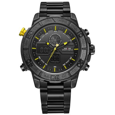 WEIDE 6108 Male Dual Movt WatchMens Watches<br>WEIDE 6108 Male Dual Movt Watch<br><br>Band material: Stainless Steel<br>Band size: 24 x 2cm / 9.45 x 0.79 inches<br>Brand: Weide<br>Case material: Alloy<br>Clasp type: Folding clasp with safety<br>Dial size: 5.5 x 5.5 x 1.5cm / 2.17 x 2.17 x 0.59 inches<br>Display type: Analog-Digital<br>Movement type: Quartz + digital watch<br>Package Contents: 1 x Watch<br>Package size (L x W x H): 13.00 x 6.50 x 2.50 cm / 5.12 x 2.56 x 0.98 inches<br>Package weight: 0.2140 kg<br>Product size (L x W x H): 24.00 x 5.50 x 1.50 cm / 9.45 x 2.17 x 0.59 inches<br>Product weight: 0.1830 kg<br>Shape of the dial: Round<br>Special features: Day, Stopwatch, Luminous, Light, Date<br>Watch mirror: Mineral glass<br>Watch style: Fashion, Trends in outdoor sports<br>Watches categories: Male table<br>Water resistance : 30 meters