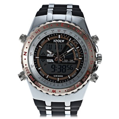 HPOLW 584B Men Dual Movt WatchMens Watches<br>HPOLW 584B Men Dual Movt Watch<br><br>Band material: Silicone<br>Band size: 25 x 2.6cm / 9.84 x 1.02 inches<br>Brand: HPOLW<br>Case material: Alloy<br>Clasp type: Pin buckle<br>Dial size: 5 x 5 x 1.3cm / 1.97 x 1.97 x 0.51 inches<br>Display type: Analog-Digital<br>Movement type: Double-movtz<br>Package Contents: 1 x Watch, 1 x Box<br>Package size (L x W x H): 28.00 x 8.00 x 3.50 cm / 11.02 x 3.15 x 1.38 inches<br>Package weight: 0.1930 kg<br>Product size (L x W x H): 25.00 x 5.00 x 1.30 cm / 9.84 x 1.97 x 0.51 inches<br>Product weight: 0.1330 kg<br>Shape of the dial: Round<br>Special features: Date, Stopwatch, Luminous, Light, Day, Alarm Clock<br>Watch mirror: Resin glass<br>Watch style: Trends in outdoor sports, Fashion, Casual<br>Watches categories: Male table<br>Water resistance : 30 meters<br>Wearable length: 19.00 - 24.00cm / 7.48 - 9.45 inches