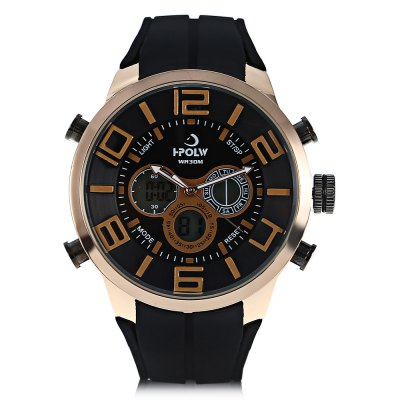 HPOLW 1508 Men Dual Movt WatchMens Watches<br>HPOLW 1508 Men Dual Movt Watch<br><br>Band material: Silicone<br>Band size: 26 x 2.2cm / 10.24 x 0.87 inches<br>Brand: HPOLW<br>Case material: Alloy<br>Clasp type: Pin buckle<br>Dial size: 5 x 5 x 1.5cm / 1.97 x 1.97 x 0.59 inches<br>Display type: Analog-Digital<br>Movement type: Double-movtz<br>Package Contents: 1 x Watch, 1 x Box<br>Package size (L x W x H): 28.00 x 8.00 x 3.50 cm / 11.02 x 3.15 x 1.38 inches<br>Package weight: 0.1760 kg<br>Product size (L x W x H): 26.00 x 5.00 x 1.50 cm / 10.24 x 1.97 x 0.59 inches<br>Product weight: 0.1160 kg<br>Shape of the dial: Round<br>Special features: Day, Stopwatch, Luminous, Light, Alarm Clock, Date<br>Watch mirror: Resin glass<br>Watch style: Trends in outdoor sports, Fashion<br>Watches categories: Male table<br>Water resistance : 30 meters<br>Wearable length: 19.00 - 24.00cm / 7.48 - 9.45 inches