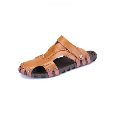 Genuine Leather Men Casual Summer Slippers