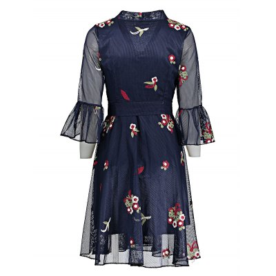 Embroidered A-line Dress with V-neckMidi-Dress<br>Embroidered A-line Dress with V-neck<br><br>Dresses Length: Knee-Length<br>Embellishment: Embroidery<br>Material: Polyester<br>Neckline: V-Neck<br>Occasion: Party, Beach and Summer<br>Package Contents: 1 x Dress<br>Package size: 32.00 x 28.00 x 2.00 cm / 12.6 x 11.02 x 0.79 inches<br>Package weight: 0.4000 kg<br>Pattern Type: Floral<br>Product weight: 0.3600 kg<br>Season: Summer<br>Silhouette: A-Line<br>Sleeve Length: 3/4 Length Sleeves<br>Sleeve Type: Flare Sleeve<br>Style: Cute<br>With Belt: Yes