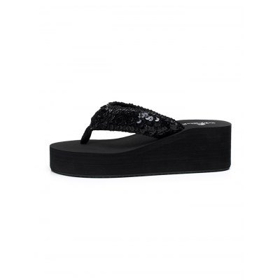 Wedge-heeled Beach Flip Flops for WomenWomens Sandals<br>Wedge-heeled Beach Flip Flops for Women<br><br>Contents: 1 x Pair of Shoes<br>Materials: EVA, TPR<br>Occasion: Casual<br>Package Size ( L x W x H ): 28.00 x 15.00 x 7.00 cm / 11.02 x 5.91 x 2.76 inches<br>Package Weights: 0.500kg<br>Seasons: Summer<br>Style: Leisure<br>Type: Slippers