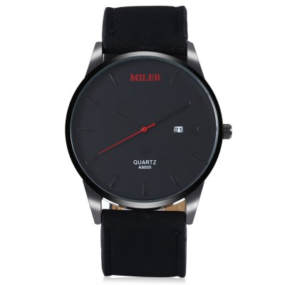 MILER A9005 Male Quartz WatchMens Watches<br>MILER A9005 Male Quartz Watch<br><br>Band material: Leather<br>Band size: 24.00 x 2.00 cm / 9.45 x 0.78 inches<br>Brand: Miler<br>Case material: Alloy<br>Clasp type: Pin buckle<br>Dial size: 4.40 x 4.40 x 0.95 cm / 1.73 x 1.73 x 0.37 inches<br>Display type: Analog<br>Movement type: Quartz watch<br>Package Contents: 1 x MILER A9005 Quartz Watch<br>Package size (L x W x H): 26.00 x 5.40 x 2.00 cm / 10.24 x 2.13 x 0.79 inches<br>Package weight: 0.1100 kg<br>Product size (L x W x H): 24.00 x 4.40 x 0.95 cm / 9.45 x 1.73 x 0.37 inches<br>Product weight: 0.0500 kg<br>Shape of the dial: Round<br>Watch style: Casual<br>Watches categories: Men<br>Wearable length: 17.00 - 22.00 cm / 6.69 - 8.66 inches