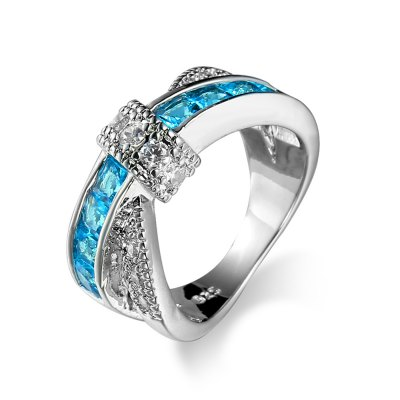 Fashion Rhinestone Promise Engagement Criss Cross Ring Jewelry
