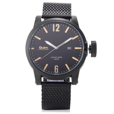 Oulm 3194 Male Quartz WatchMens Watches<br>Oulm 3194 Male Quartz Watch<br><br>Band material: Stainless Steel<br>Band size: 25.5 x 2.20 cm / 10.04 x 0.87 inches<br>Brand: Oulm<br>Case material: Alloy<br>Clasp type: Sheet folding clasp<br>Dial size: 4.50 x 4.50 x 1.3cm / 1.77 x 1.77 x 0.51 inches<br>Display type: Analog<br>Movement type: Quartz watch<br>Package Contents: 1 x Watch<br>Package size (L x W x H): 26.50 x 5.50 x 2.30 cm / 10.43 x 2.17 x 0.91 inches<br>Package weight: 0.1510 kg<br>Product size (L x W x H): 25.50 x 4.50 x 1.30 cm / 10.04 x 1.77 x 0.51 inches<br>Product weight: 0.1200 kg<br>Shape of the dial: Round<br>Special features: Date, Luminous<br>Watch mirror: Mineral glass<br>Watch style: Casual, Fashion<br>Watches categories: Male table<br>Water resistance : 30 meters