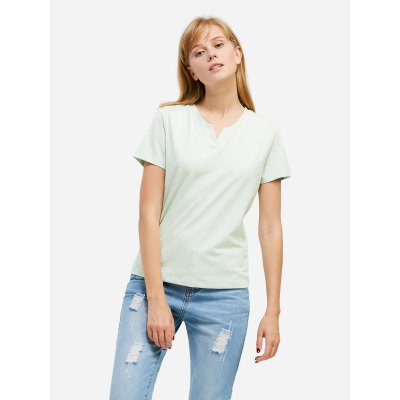 ZANSTYLE Women Split Neck Light Green Tee