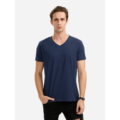 ZANSTYLE Men V Neck Deep Blue T Shirt