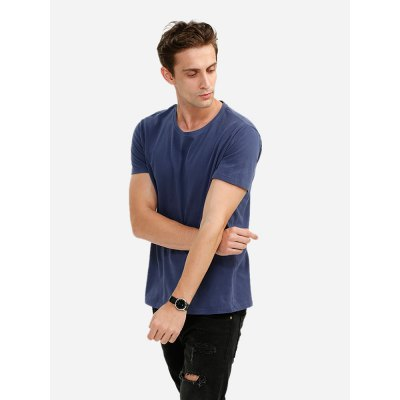 ZANSTYLE Crew Neck Deep Blue T Shirt for Men