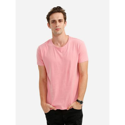 ZANSTYLE Crew Neck Pink T Shirt for Men