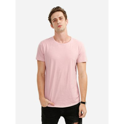 ZANSTYLE Men Crew Neck Shallow Pink T Shirt