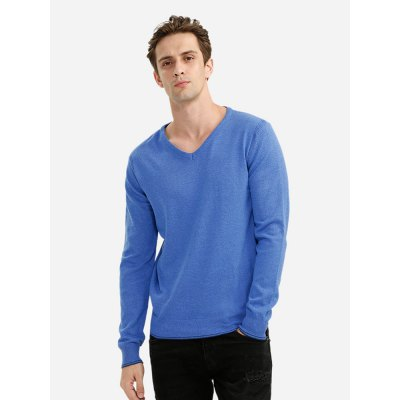 ZANSTYLE Men V Neck Blue Knitwear
