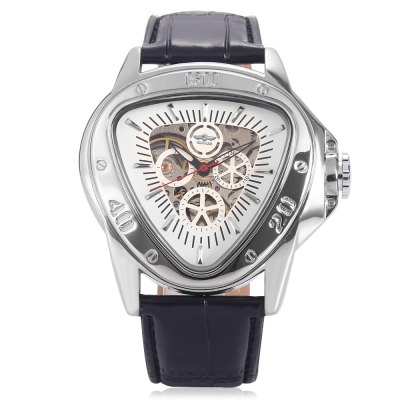 Winner A516 Male Auto Mechanical WatchMens Watches<br>Winner A516 Male Auto Mechanical Watch<br><br>Band material: Leather<br>Band size: 25.5 x 2cm / 10.04 x 0.79 inches<br>Brand: Winner<br>Case material: Alloy<br>Clasp type: Pin buckle<br>Dial size: 5 x 5 x 1.5cm / 1.97 x 1.97 x 0.59 inches<br>Display type: Analog<br>Movement type: Automatic mechanical watch<br>Package Contents: 1 x Watch<br>Package size (L x W x H): 26.50 x 6.00 x 2.50 cm / 10.43 x 2.36 x 0.98 inches<br>Package weight: 0.1410 kg<br>Product size (L x W x H): 25.50 x 5.00 x 1.50 cm / 10.04 x 1.97 x 0.59 inches<br>Product weight: 0.1100 kg<br>Shape of the dial: Triangle<br>Special features: Decorative sub-dial<br>Watch mirror: Mineral glass<br>Watch style: Fashion, Business<br>Watches categories: Male table<br>Water resistance : Life water resistant<br>Wearable length: 19.00 - 24.00cm / 7.48 - 9.45 inches
