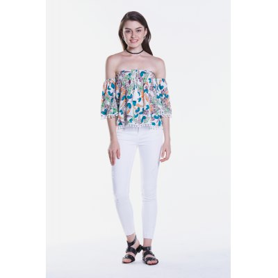 Floral Printed Half Sleeve Off The Shoulder BlouseBlouses<br>Floral Printed Half Sleeve Off The Shoulder Blouse<br><br>Collar: Off The Shoulder<br>Elasticity: Nonelastic<br>Embellishment: Lace up<br>Material: Viscose<br>Package Content: 1 x Blouse<br>Package size (L x W x H): 35.00 x 2.00 x 26.00 cm / 13.78 x 0.79 x 10.24 inches<br>Package weight: 0.1600 kg<br>Pattern Type: Floral<br>Product weight: 0.1300 kg<br>Season: Fall, Summer, Spring<br>Shirt Length: Regular<br>Sleeve Length: Half Sleeves<br>Style: Fashion