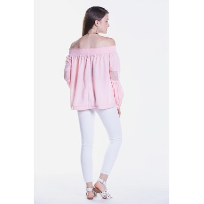Sheer Lace Splicing Long Sleeve Off The Shoulder BlouseBlouses<br>Sheer Lace Splicing Long Sleeve Off The Shoulder Blouse<br><br>Collar: Off The Shoulder<br>Elasticity: Nonelastic<br>Embellishment: Ruffles<br>Material: Polyester<br>Package Content: 1 x Blouse<br>Package size (L x W x H): 36.00 x 2.00 x 27.00 cm / 14.17 x 0.79 x 10.63 inches<br>Package weight: 0.1900 kg<br>Pattern Type: Solid<br>Product weight: 0.1500 kg<br>Season: Summer, Spring, Fall<br>Shirt Length: Regular<br>Sleeve Length: Long Sleeves<br>Sleeve Type: Puff Sleeve<br>Style: Fashion