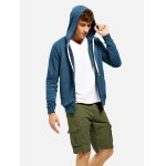 ZANSTYLE Zip Blue Gray Hoodie for Men for sale