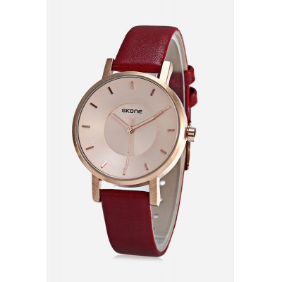 SKONE 9463L Women Quartz Watch Stereo Dial Leather Band Wristwatch