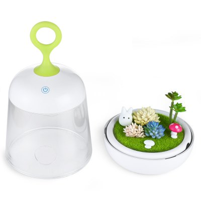 Micro Landscape Plant Nightlight for BedroomNight Lights<br>Micro Landscape Plant Nightlight for Bedroom<br><br>Battery Type: 1200mAh lithium-ion battery<br>CCT: 2800 - 3200K<br>Feature: Rechargeable, Touch Sensor<br>Input Voltage: DC 5V<br>Luminance: 90LM<br>Material: TPU, PC, ABS<br>Numbers of LED: 6<br>Optional Light Color: RGB,Warm White<br>Package Contents: 1 x Night Light, 1 x Replace Empty Pot, 1 x Charging Cable, 1 x Manual in English and Chinese<br>Package size (L x W x H): 12.50 x 12.50 x 25.40 cm / 4.92 x 4.92 x 10 inches<br>Package weight: 0.5100 kg<br>Power: 1W<br>Power Supply: USB<br>Product size (L x W x H): 12.00 x 12.00 x 23.20 cm / 4.72 x 4.72 x 9.13 inches<br>Product weight: 0.3010 kg<br>Runtime: 10000 hours<br>Type: Night Light, Landscape Light