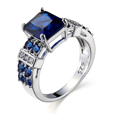 Square Rhinestone 925 Silver Ring for Women