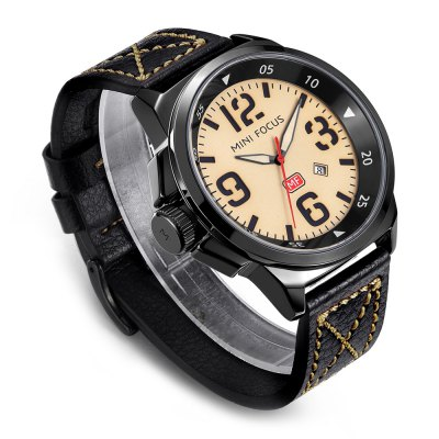 MINI FOCUS MF0004G Men Quartz WatchMens Watches<br>MINI FOCUS MF0004G Men Quartz Watch<br><br>Band material: Leather<br>Band size: 24.5 x 2.2cm / 9.65 x 0.87 inches<br>Brand: MINI FOCUS<br>Case material: Alloy<br>Clasp type: Pin buckle<br>Dial size: 4.5 x 4.5 x 1.2cm / 1.77 x 1.77 x 0.47 inches<br>Display type: Analog<br>Movement type: Quartz watch<br>Package Contents: 1 x Watch<br>Package size (L x W x H): 25.50 x 5.50 x 2.20 cm / 10.04 x 2.17 x 0.87 inches<br>Package weight: 0.1260 kg<br>Product size (L x W x H): 24.50 x 4.50 x 1.20 cm / 9.65 x 1.77 x 0.47 inches<br>Product weight: 0.0950 kg<br>Shape of the dial: Round<br>Special features: Date, Luminous<br>Watch mirror: Mineral glass<br>Watch style: Casual, Fashion<br>Watches categories: Male table<br>Water resistance : 30 meters<br>Wearable length: 18 - 21cm / 7.09 - 8.27 inches