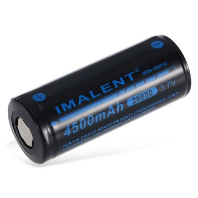 IMALENT MRB - 266P45 26650 Lithium-ion BatteryBatteries<br>IMALENT MRB - 266P45 26650 Lithium-ion Battery<br><br>Battery: 26650<br>Battery Type: Lithium-ion<br>Brand: Imalent<br>Built-in Protected Circuit: Yes<br>Capacity (mAh): 4500mAh<br>Charge Current: 2250mA<br>Discharge Current: 45mA<br>Head Type: Flat Top<br>Max. Charge Current: 3500mA<br>Max. Charge Voltage: 4.2V<br>Max. Discharge Current: 12000mA<br>Package Contents: 1 x 26650 Lithium-ion Battery<br>Package size (L x W x H): 7.20 x 3.20 x 3.00 cm / 2.83 x 1.26 x 1.18 inches<br>Package weight: 0.1310 kg<br>Product size (L x W x H): 6.70 x 2.70 x 2.70 cm / 2.64 x 1.06 x 1.06 inches<br>Product weight: 0.0990 kg<br>Protected: Yes<br>Rechargeable: Yes<br>Suitable for: Flashlight, PDA<br>Type: Battery<br>Voltage(V): 3.7V