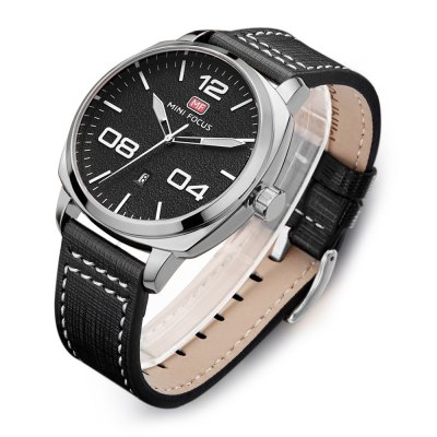 MINI FOCUS MF0013G Male Quartz WatchMens Watches<br>MINI FOCUS MF0013G Male Quartz Watch<br><br>Band material: Leather<br>Band size: 22 x 2.2cm / 8.66 x 0.87 inches<br>Brand: MINI FOCUS<br>Case material: Alloy<br>Clasp type: Pin buckle<br>Dial size: 4 x 4 x 1.2cm / 1.57 x 1.57 x 0.47 inches<br>Display type: Analog<br>Movement type: Quartz watch<br>Package Contents: 1 x Watch<br>Package size (L x W x H): 23.00 x 5.00 x 2.20 cm / 9.06 x 1.97 x 0.87 inches<br>Package weight: 0.0970 kg<br>Product size (L x W x H): 22.00 x 4.00 x 1.20 cm / 8.66 x 1.57 x 0.47 inches<br>Product weight: 0.0660 kg<br>Shape of the dial: Round<br>Special features: Date, Luminous<br>Watch mirror: Mineral glass<br>Watch style: Business, Fashion<br>Watches categories: Male table<br>Water resistance : 30 meters<br>Wearable length: 18 - 21cm / 7.09 - 8.27 inches