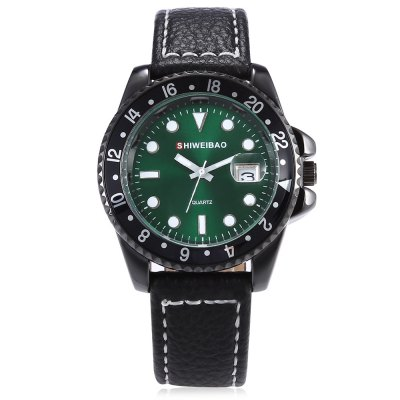 SHI WEI BAO A2088 Male Quartz WatchMens Watches<br>SHI WEI BAO A2088 Male Quartz Watch<br><br>Band material: Genuine Leather<br>Band size: 25.50 x 2.00 cm / 10.04 x 0.78 inches<br>Brand: Shiweibao<br>Case material: Alloy<br>Clasp type: Pin buckle<br>Dial size: 4.00 x 4.00 x 1.00 cm / 1.57 x 1.57 x 0.39 inches<br>Display type: Analog<br>Movement type: Quartz watch<br>Package Contents: 1 x SHI WEI BAO Watch, 1 x Box<br>Package size (L x W x H): 11.50 x 9.00 x 8.00 cm / 4.53 x 3.54 x 3.15 inches<br>Package weight: 0.1700 kg<br>Product size (L x W x H): 25.50 x 4.00 x 1.00 cm / 10.04 x 1.57 x 0.39 inches<br>Product weight: 0.0640 kg<br>Shape of the dial: Round<br>Special features: Date<br>Watch style: Casual<br>Watches categories: Male table<br>Wearable length: 18.00 - 23.00 cm / 7.08 - 9.05 inches