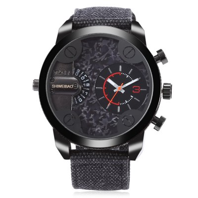 SHI WEI BAO A3077 Men Dual Quartz WatchMens Watches<br>SHI WEI BAO A3077 Men Dual Quartz Watch<br><br>Band material: Canvas<br>Band size: 25.60 x 2.50 cm / 10.08 x 0.98 inches<br>Brand: Shiweibao<br>Case material: Alloy<br>Clasp type: Pin buckle<br>Dial size: 5.06 x 5.06 x 1.46 cm / 1.99 x 1.99 x 0.57 inches<br>Display type: Analog<br>Movement type: Double-movtz<br>Package Contents: 1 x SHI WEI BAO Watch, 1 x Box<br>Package size (L x W x H): 11.50 x 9.00 x 8.00 cm / 4.53 x 3.54 x 3.15 inches<br>Package weight: 0.1900 kg<br>Product size (L x W x H): 25.60 x 5.06 x 1.46 cm / 10.08 x 1.99 x 0.57 inches<br>Product weight: 0.0900 kg<br>Shape of the dial: Round<br>Watch style: Casual<br>Watches categories: Male table<br>Water resistance : Life water resistant<br>Wearable length: 17.00 - 23.00 cm / 6.69 - 9.05 inches