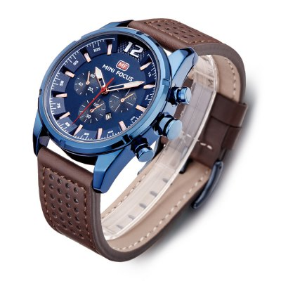 MINI FOCUS MF0005G Men Quartz WatchMens Watches<br>MINI FOCUS MF0005G Men Quartz Watch<br><br>Band material: Leather<br>Band size: 22 x 2.2cm / 8.66 x 0.87 inches<br>Brand: MINI FOCUS<br>Case material: Alloy<br>Clasp type: Pin buckle<br>Dial size: 4 x 4 x 1.2cm / 1.57 x 1.57 x 0.47 inches<br>Display type: Analog<br>Movement type: Quartz watch<br>Package Contents: 1 x Watch<br>Package size (L x W x H): 23.00 x 5.00 x 2.20 cm / 9.06 x 1.97 x 0.87 inches<br>Package weight: 0.1060 kg<br>Product size (L x W x H): 22.00 x 4.00 x 1.20 cm / 8.66 x 1.57 x 0.47 inches<br>Product weight: 0.0750 kg<br>Shape of the dial: Round<br>Special features: Date, Luminous, Decorative sub-dial<br>Watch mirror: Mineral glass<br>Watch style: Business, Fashion<br>Watches categories: Male table<br>Water resistance : 30 meters<br>Wearable length: 18 - 21cm / 7.09 - 8.27 inches