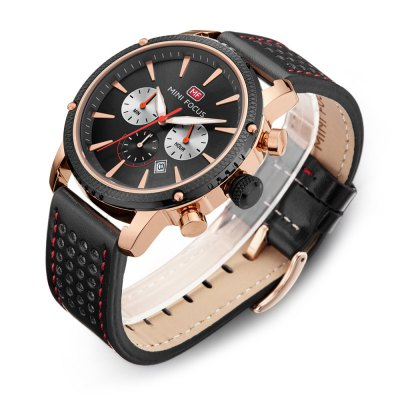 MINI FOCUS MF0010G Male Quartz WatchMens Watches<br>MINI FOCUS MF0010G Male Quartz Watch<br><br>Band material: Leather<br>Band size: 22 x 2.2cm / 8.66 x 0.87 inches<br>Brand: MINI FOCUS<br>Case material: Alloy<br>Clasp type: Pin buckle<br>Dial size: 4 x 4 x 1.2cm / 1.57 x 1.57 x 0.47 inches<br>Display type: Analog<br>Movement type: Quartz watch<br>Package Contents: 1 x Watch<br>Package size (L x W x H): 23.00 x 5.00 x 2.20 cm / 9.06 x 1.97 x 0.87 inches<br>Package weight: 0.1030 kg<br>Product size (L x W x H): 22.00 x 4.00 x 1.20 cm / 8.66 x 1.57 x 0.47 inches<br>Product weight: 0.0720 kg<br>Shape of the dial: Round<br>Special features: Date, Stopwatch<br>Watch mirror: Mineral glass<br>Watch style: Business, Fashion<br>Watches categories: Male table<br>Water resistance : 30 meters<br>Wearable length: 18 - 21cm / 7.09 - 8.27 inches