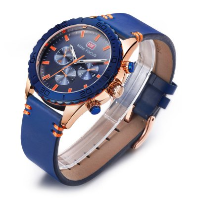 MINI FOCUS MF0007G Male Quartz WatchMens Watches<br>MINI FOCUS MF0007G Male Quartz Watch<br><br>Band material: Leather<br>Band size: 22 x 2.2cm / 8.66 x 0.87 inches<br>Brand: MINI FOCUS<br>Case material: Alloy<br>Clasp type: Pin buckle<br>Dial size: 3.6 x 3.6 x 1.2cm / 1.42 x 1.42 x 0.47 inches<br>Display type: Analog<br>Movement type: Quartz watch<br>Package Contents: 1 x Watch<br>Package size (L x W x H): 23.00 x 4.60 x 2.20 cm / 9.06 x 1.81 x 0.87 inches<br>Package weight: 0.1040 kg<br>Product size (L x W x H): 22.00 x 3.60 x 1.20 cm / 8.66 x 1.42 x 0.47 inches<br>Product weight: 0.0730 kg<br>Shape of the dial: Round<br>Special features: Decorative sub-dial<br>Watch mirror: Mineral glass<br>Watch style: Fashion, Business<br>Watches categories: Male table<br>Water resistance : 30 meters<br>Wearable length: 18 - 21cm / 7.09 - 8.27 inches