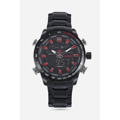 NAVIFORCE 9093 Men Dual Movt WatchMens Watches<br>NAVIFORCE 9093 Men Dual Movt Watch<br><br>Band material: Steel<br>Band size: 24.50 x 2.30 cm / 9.65 x 0.90 inches<br>Brand: Naviforce<br>Case material: Alloy<br>Clasp type: Folding clasp with safety<br>Dial size: 4.80 x 4.80 x 1.60 cm / 1.89 x 1.89 x 0.63 inches<br>Display type: Analog-Digital<br>Movement type: Quartz + digital watch<br>Package Contents: 1 x NAVIFORCE 9093 Men Watch<br>Package size (L x W x H): 26.00 x 5.80 x 2.60 cm / 10.24 x 2.28 x 1.02 inches<br>Package weight: 0.2140 kg<br>Product size (L x W x H): 24.50 x 4.80 x 1.60 cm / 9.65 x 1.89 x 0.63 inches<br>Product weight: 0.1830 kg<br>Shape of the dial: Round<br>Special features: Date, Month, Luminous, Day, Alarm Clock<br>Watch color: Black and Red, Black and White, Black and Yellow, Silver and White, Silver and Red<br>Watch mirror: Mineral glass<br>Watch style: Business<br>Watches categories: Men<br>Water resistance : 30 meters